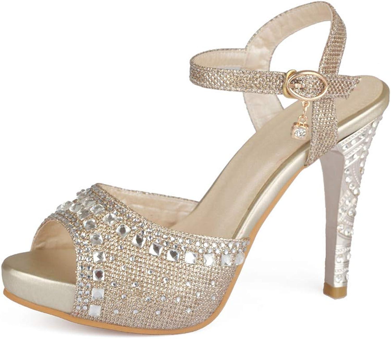 GAO-GEN1 Plus Size 33-43 Spike High Heels Sandals Women Peep Toe Buckle Strap Party Wedding shoes Woman