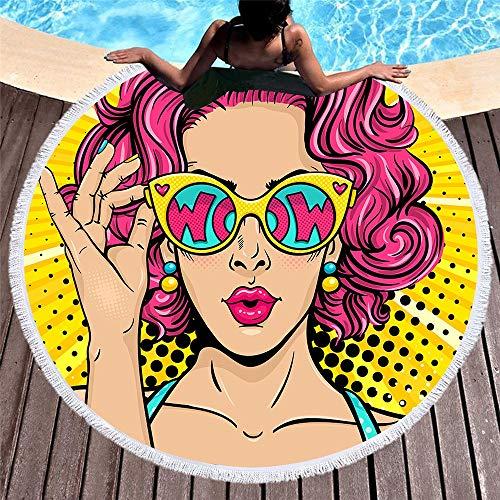 DC Wesley Retro Ronda 3D Impresión Digital Toalla De Playa Cojín Suave For La Piscina Secado Rápido Franja De Playa Estera De Yoga Mantón De Manta 150 * 150 Cm