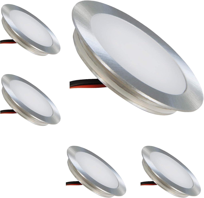 5 Stück 0.9 Watt LED Boden Einbauspot Lisa 12 Volt IP67 Lichtfarbe Warmwei inkl. Anschlukabel ca. 50 cm