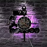 xcvbxcvb Juego de acción de Aventura Retro LED luz de Noche Disco de Vinilo Reloj de Pared lámpara de Pared Moderna Videojuego de Setas decoración del hogar