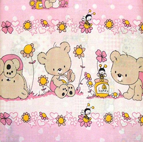 Pezzoli - Orsetti - Parure de lit complète pour lit bébé, avec motif oursons rose