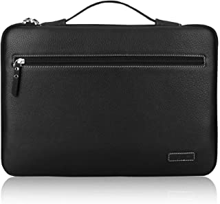 """FYY 12-13.5"""" [Premium Leather] Laptop Sleeve Case Cover Bag for MacBook Pro/ MacBook Air/ iPad Pro 12.9 2018 2017 2016, Laptop Bag for 12""""-13.5"""" Surface Lenovo Dell HP ASUS Acer Chromebook Black"""