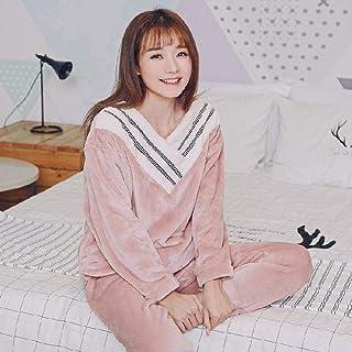 Pijamas de invierno para mujer, pijamas coreanos, bonito conjunto de pijamas de franela, pijamas cálidos para estudiantes y niñas, servicio a domicilio, traje de dos piezas, ropa de dormir