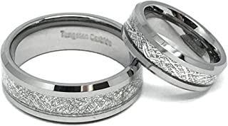FashionBros Wedding Band Ring Set for Him & Her - 8MM/6MM Tungsten Carbide Beveled Edge with Meteorite Center Inlay