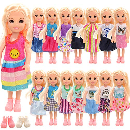 Miunana 12 Clothes Outfits for 6 Inch Chelsea Dolls = 10 Dresses + 2 Shoes for Girl Dolls