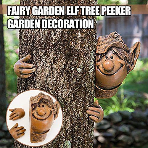 SSLLH Garten Statue Dekoration,Schelmischer Gartenzwerg Voyeur, Gartenzwerge wetterfest Garten GNOME Statue, Baum Huggers Garden Decor, lustige Gartenbaumdekoration