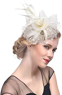 Zoestar Black Tea Party Fascinators Flower Mesh Hair Clip and Headband Feather Fascinator Top Hatfor Women (Beige)