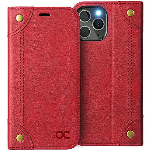 OCASE Retro Hülle iPhone 12 iPhone 12 Pro Handyhülle Tasche PU Leder Flip Cover Brieftasche Etui RFID Schutzhülle Klapphülle Lederhülle Kompatibel für iPhone 12/Pro 5G Rot 6,1 Zoll
