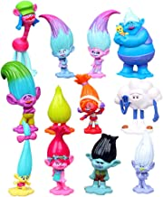 DeQian 12pcs Troll Dolls Toy, Movie Action Figures, Cake Toppers for Kids Party Favors&Gifts(3-6cm Tall)