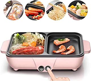 Teppanyaki Grill Mini Integrated Barbecue Hot Pothousehold Electric Baking Pan Barbecue Machine Dormitory Multifunctional One-Pot Dual-Use Independent Switch,Pink