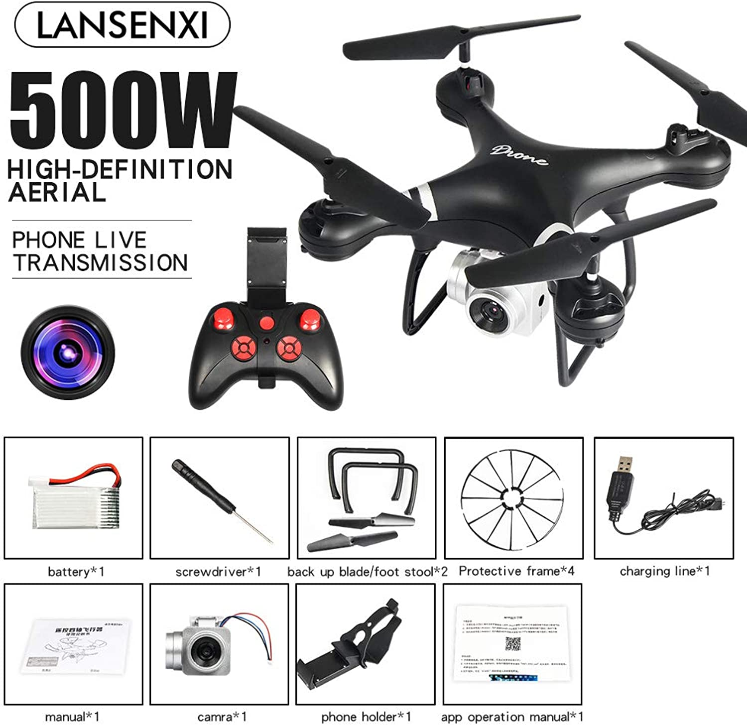 Elegantstunning LF608 WiFi FPV RC Drone Quadcopter with 0.3MP 2.0MP 5.0MP Camera Get The Longer Playing Time Black 5MP