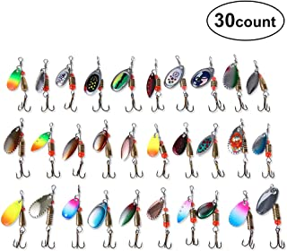 DAOUD-PRO 10/30 pcs Fishing Spoon Lures Kit with Treble Hooks, Metal Lures Casting Spinner Fishing Baits for Bass Salmon Trout Crappie Freshwater Saltwater