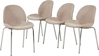 GreenForest Dining Side Chairs Large Seat Strong Metal Legs Fabric Cushion Seat Back Dining Room Chairs Set of 4,Gray