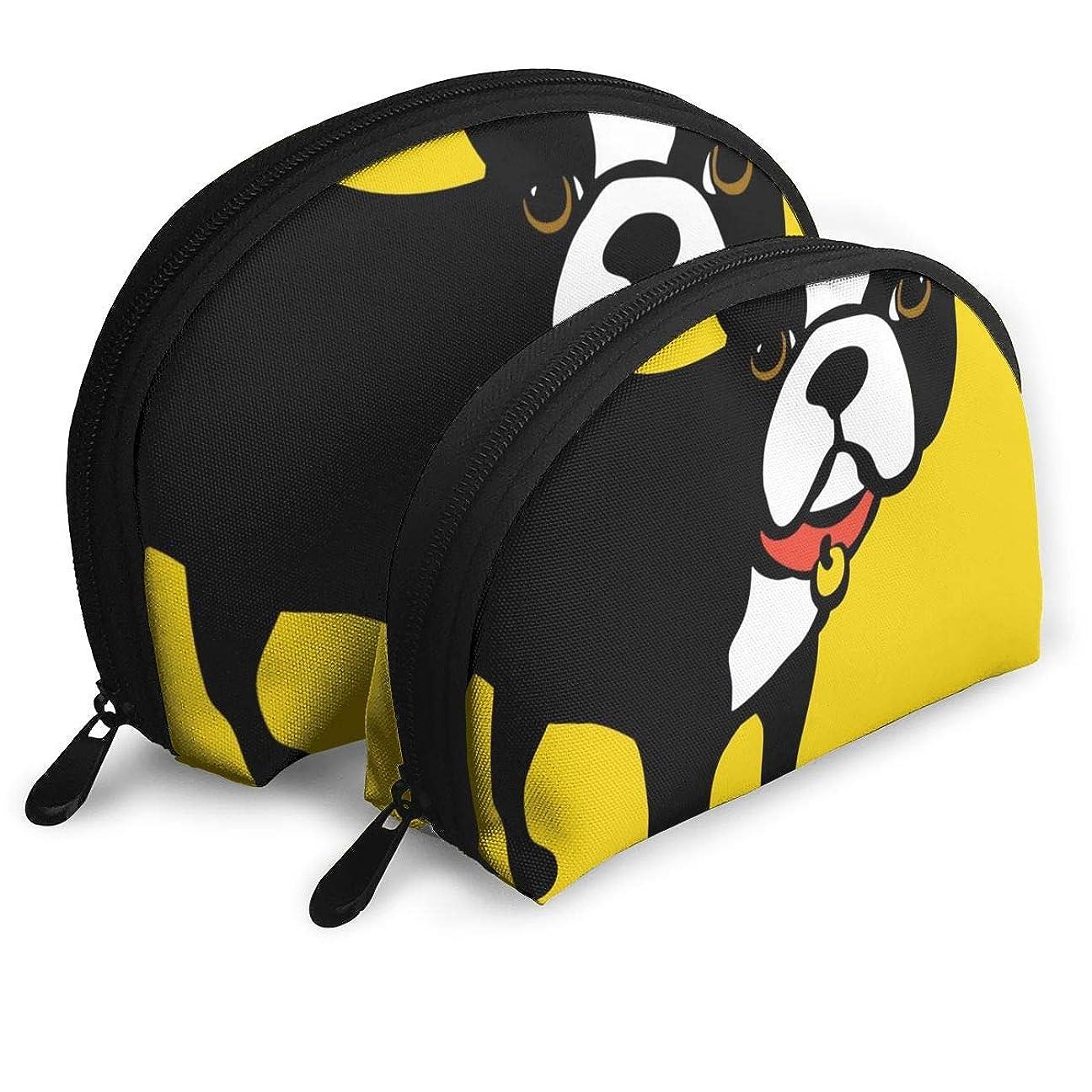 普遍的な保全致命的化粧バッグ ポーチ 2点セット コスメ ボストン テリア そして フランス語 ブルドッグ メイクブラシ 整理袋ポータブル 道具 収納ケース トラベルバッグ 小物入れ 出張 旅行 おしゃれ プレゼント 女の子 貝殻 バッグ