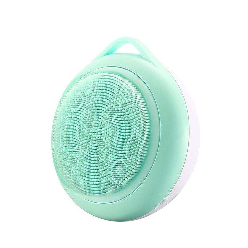 シマウマ放射能ショットフェイシャルクレンジングブラシ、シリコンフェイスブラシ、ディープポアクレンジング、にきび防止アンチエイジングスキンケア、フェイシャルマッサージ (Color : Green)
