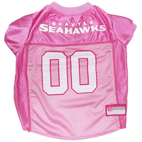 Pets First SEA-4019-LG NFL SEATTLE SEAHAWKS DOG Jersey Pink, Large. – Football Pet Jersey in PINK