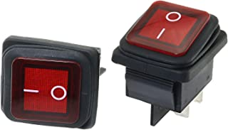 RuiLing 2-Pack 16A/250V 4 Pin Boat Rocker Switch 20A/125V AC Waterproof 2 Position Switches ON/Off with Red Indicator Light