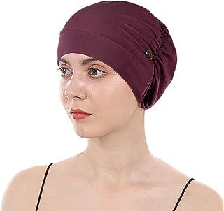 قبعة صغيرة للنساء من Holiberty قبعة مسلم مرنة قبعات النوم زر غطاء الرأس قبعة فقدان الشعر