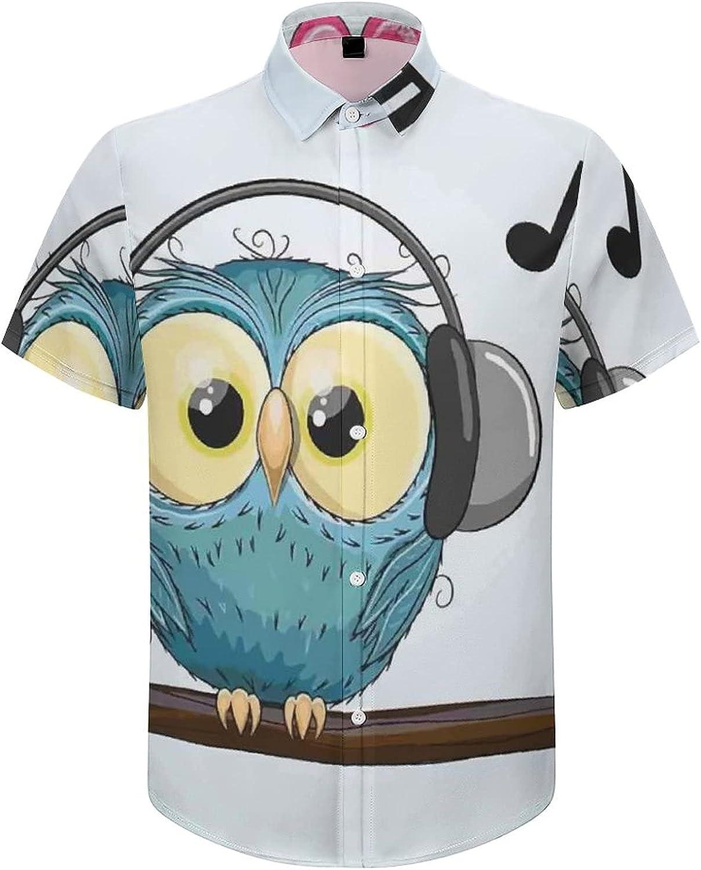Men's Short Sleeve Button Down Shirt Cartoon Owl Headphone Music Summer Shirts