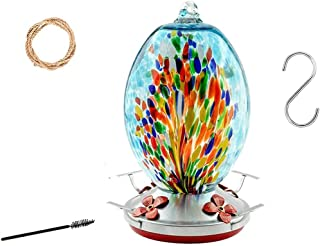 RORA Hummingbird Feeder for Outdoors- Hand Blown Glass - Large 25 Ounces Colourful Hummingbird Including Hanging Wires,Hem...