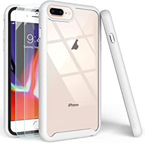 iPhone 7 Plus Case,iPhone 8 Plus Case with Tempered Glass Screen Protector [2 Pack],LUCKYCAT Shockproof Clear Multicolor Series Bumper Cover for 5.5 Inch Apple iPhone 6/6s/7/8 Plus-White