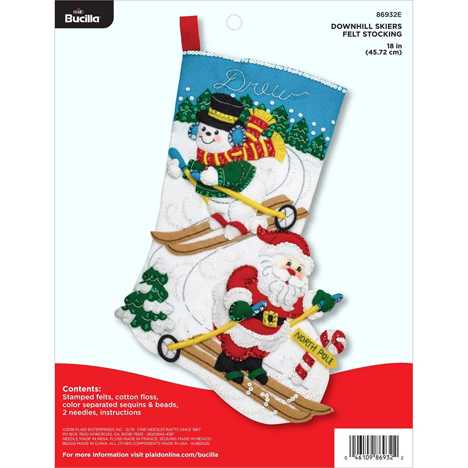 Bucilla 86932E Felt Stocking Applique Kit, 18