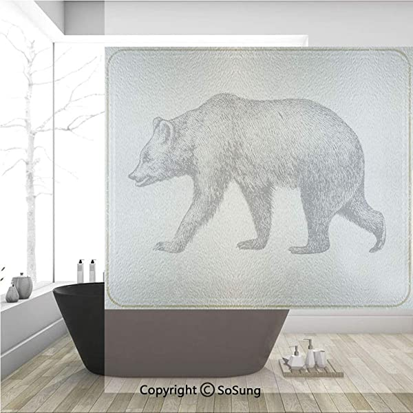 3D Decorative Privacy Window Films Vintage Framework With Wild Animal Bear Hand Drawing Carnivore Sketch Art No Glue Self Static Cling Glass Film For Home Bedroom Bathroom Kitchen Office 36x36 Inch