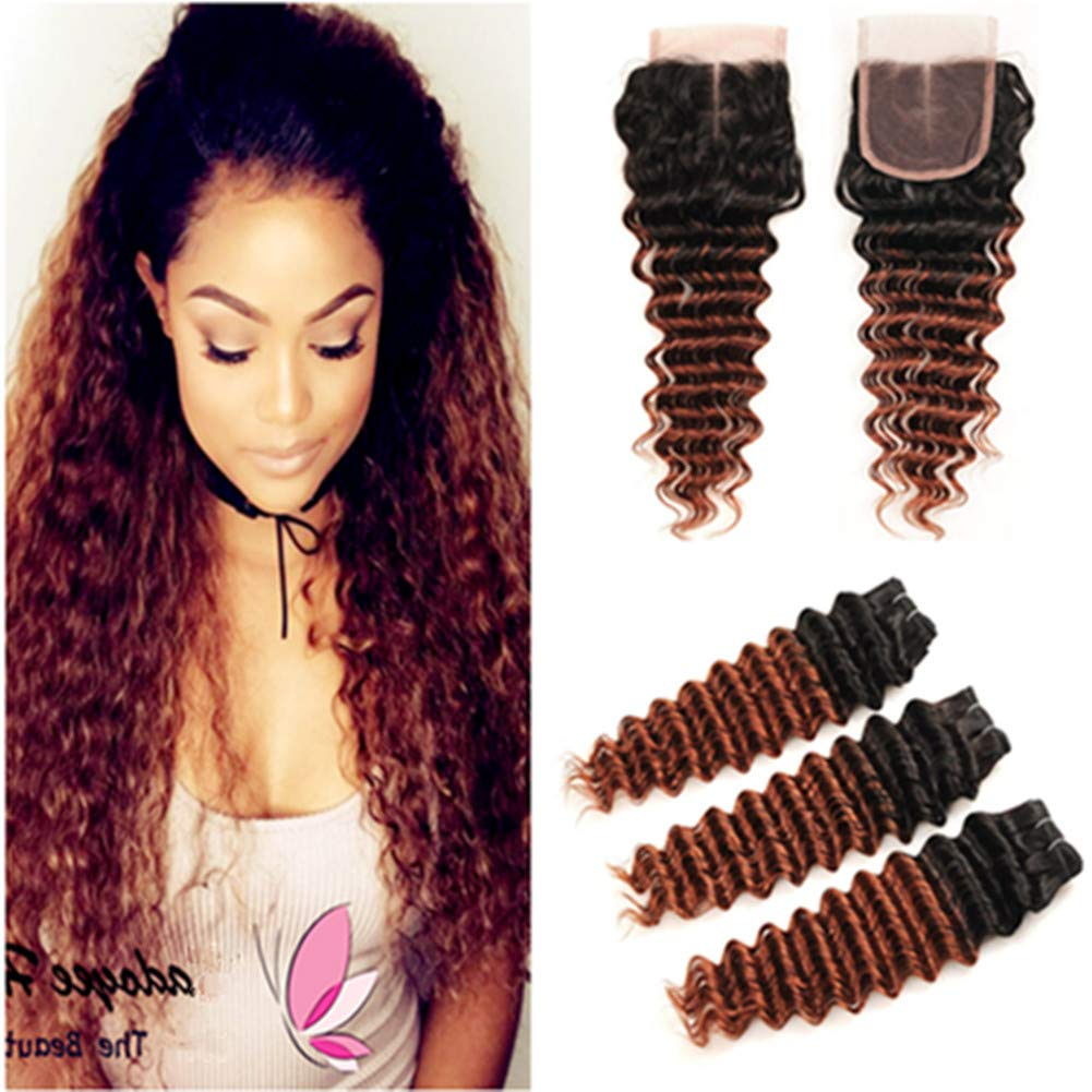 中古 Tony Beauty Hair #1B 33 Dark WEB限定 Auburn Ha Ombre Deep Brazilian Wave
