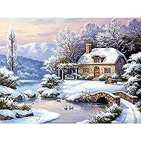 5D DIYダイヤモンド塗装キット、フルダイヤモンドラウンドラインストーン刺繍アートワーク、家の装飾に使用、冬の風景30x40cm