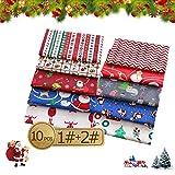 10pcs Baumwollstoff Weihnachten,Weihnachten Muster
