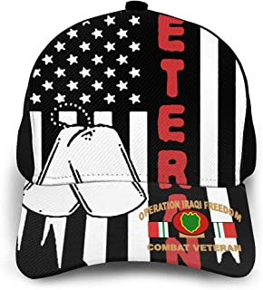 Classic Baseball Cap US Flag Army Veteran 24th Infantry Division Iraq Combat Veteran Adjustable Sun Hat