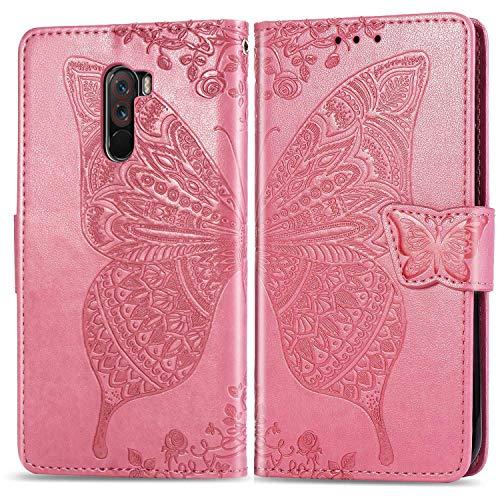 Bravoday Handyhülle für Xiaomi PocoPhone F1 Hülle, Stoßfest PU Leder Tasche Flip Hülle Schutzhülle für Xiaomi PocoPhone F1, mit Kartenfäch und Kickstand, Rosa