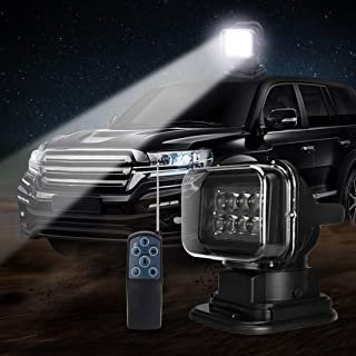 QUNSUN LED Spotlight LED Search Light 12V 50W 360 Degree CREE LED Rotating Remote Control Work Light Spot for Hummer Jeep Off-Road Vehicles Trucks Car Boat SUV Home Security Protection Emergency