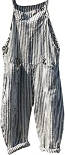 WSPLYSPJY Women Cargo Sleeveless Loose Linen Long Playsuit Jumpsuit Bib Pants