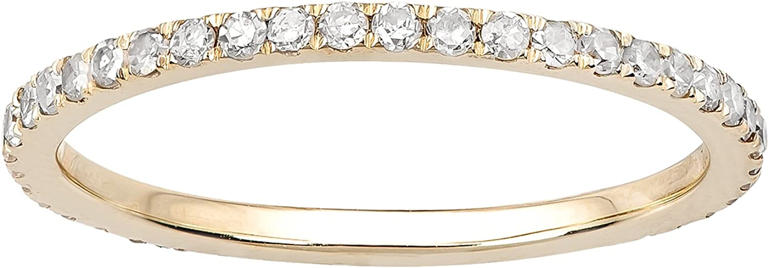 10k Yellow Gold Pave Eternity Max 85% OFF Diamond Band 1 2 70% OFF Outlet cttw I- Wedding