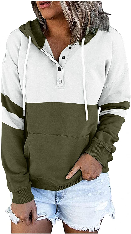 Toeava Hoodies for Women,Women's Color Block Drawstring Hoodies Sweatshirts Button Down Long Sleeve Pullover w/Pocket