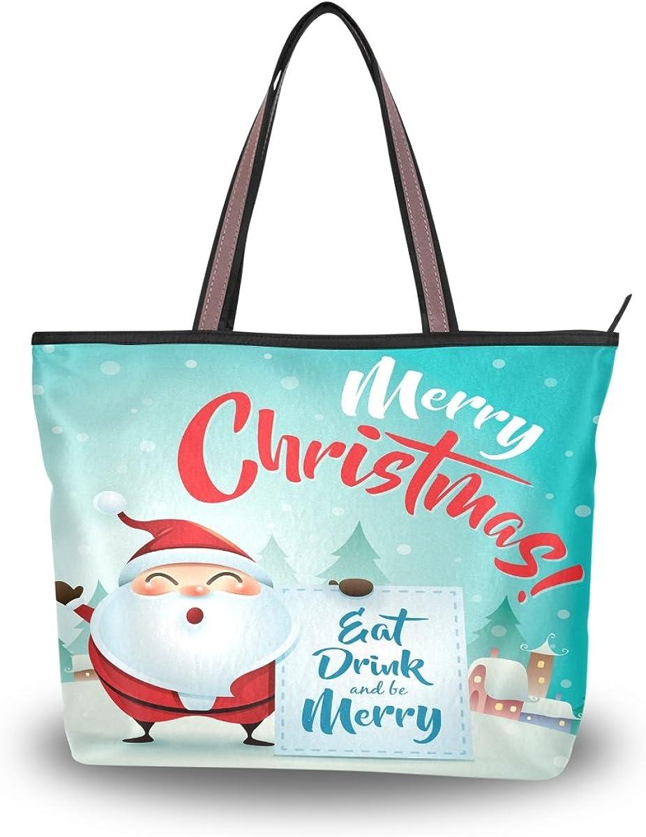 JSTEL Women Large Tote Top Handle Shoulder Bags Merry Christmas Santa Claus Ladies Handbag