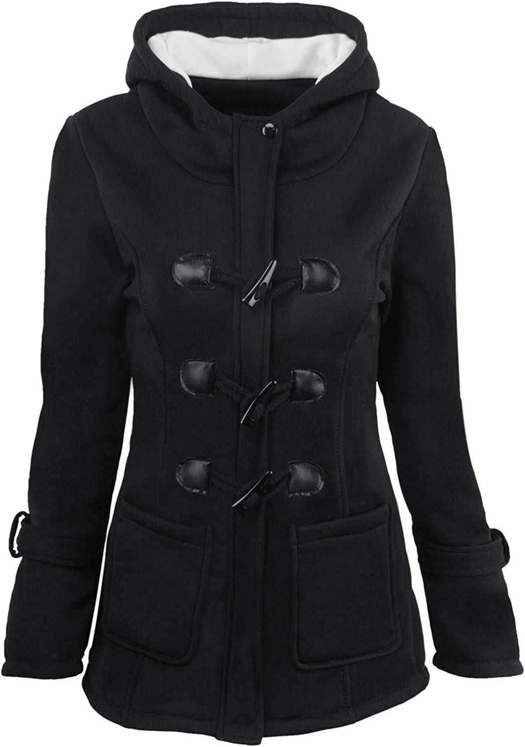 Forwelly Women Winter Thicken Lined Jacket Solid Color Horn Buttons Hooded Coat Plus Size Overcoat