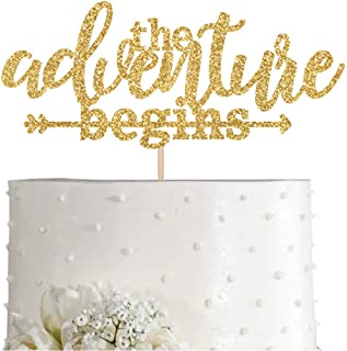 Gold Glitter The Adventure Begins Cake Topper, Arrow Wedding, Bridal Shower, Engagement Party Decorations, Supplies