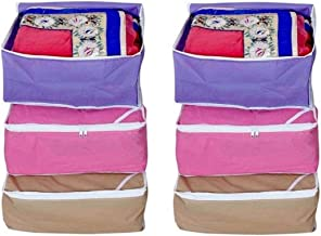 Fashion Bizz Fashion Bizz Non Woven Multi Saree Covers Set of 6 Pcs Combo/Wardrobe Organiser/Regular Clothes Bag