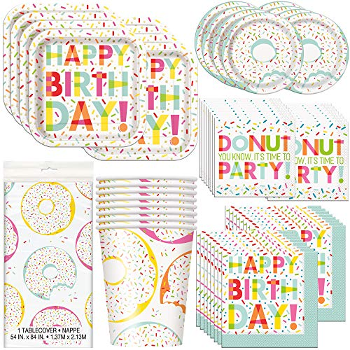 Unique Donut Party Bundle | Luncheon & Beverage Napkins, Dinner & Dessert Plates, Cups, Table Cover | Great for Dessert Birthday Themed Parties