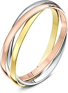 (W, 2 Millimetres, Yellow, White and Rose) - Theia Unisex 9 ct Rose, White and Yellow Highly Polished Gold Russian Wedding Ring