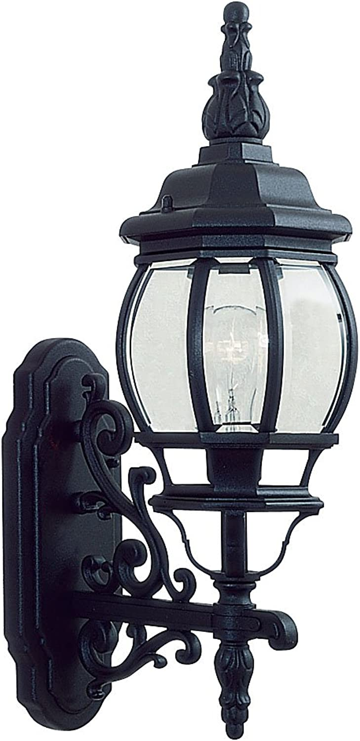 Livex Lighting 7520-04 Outdoor Wall Lantern with Clear Beveled Glass Shades, Black