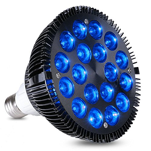 LED Aquarium Light Blub, HIGROW 36W LED Plant Grow Light Bulb with 18x2W 450-460nm Blue LEDs for Indoor Plants Veg and Aquarium Plants Growing