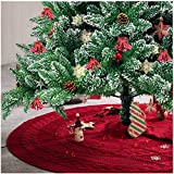 "Glitzhome 52"" Knitted Red Christmas Tree Skirt Large Round for for Xmas Holiday Party Decorations"