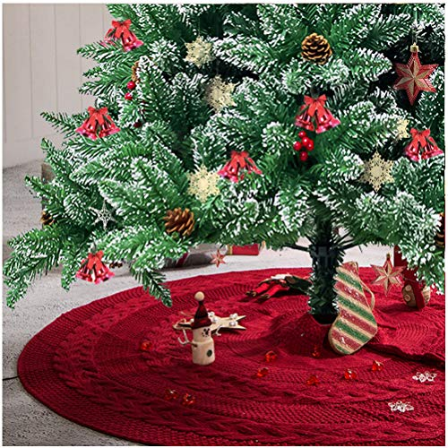 Glitzhome 52' Knitted Red Christmas Tree Skirt Large Round for for Xmas Holiday Party Decorations