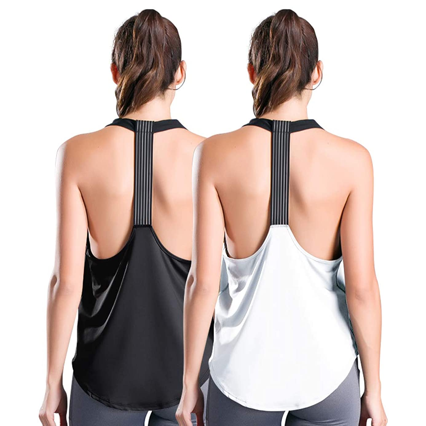 nine bull Women's Workout Tank Tops Sexy Backless Yoga Shirts Athletic Running Gym Quick Dry Tank Tops, 2 Pack