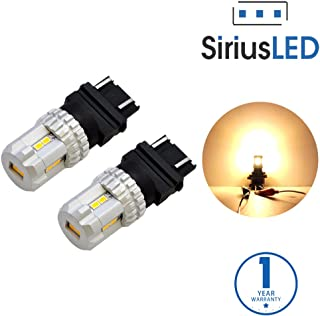 SiriusLED Ultra Compact Extremely Bright 2835 Chip Full Aluminum Warm White Color LED Fog DRL Turn Signal Tail Light Bulb Size 3157 4157NA Pack of 2
