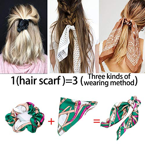 Beauty Wig World Hair Scarf Silk Scrunchies Ponytail - (4 Pack) Chain Detail Unique Hair Ties Designs to match Different Outfits – Satin Silk Hair Bands for Women Teen Tween Hair Scarves Tie 3