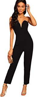 Women's Elegant Sweetheart Neck Strapless Stretchy Party Romper Jumpsuit